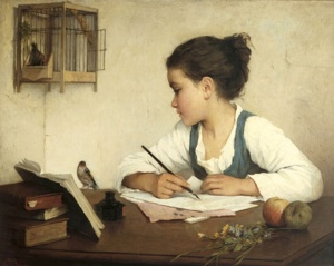 henriette-browne-young-girl-writing-at-her-desk-with-birds